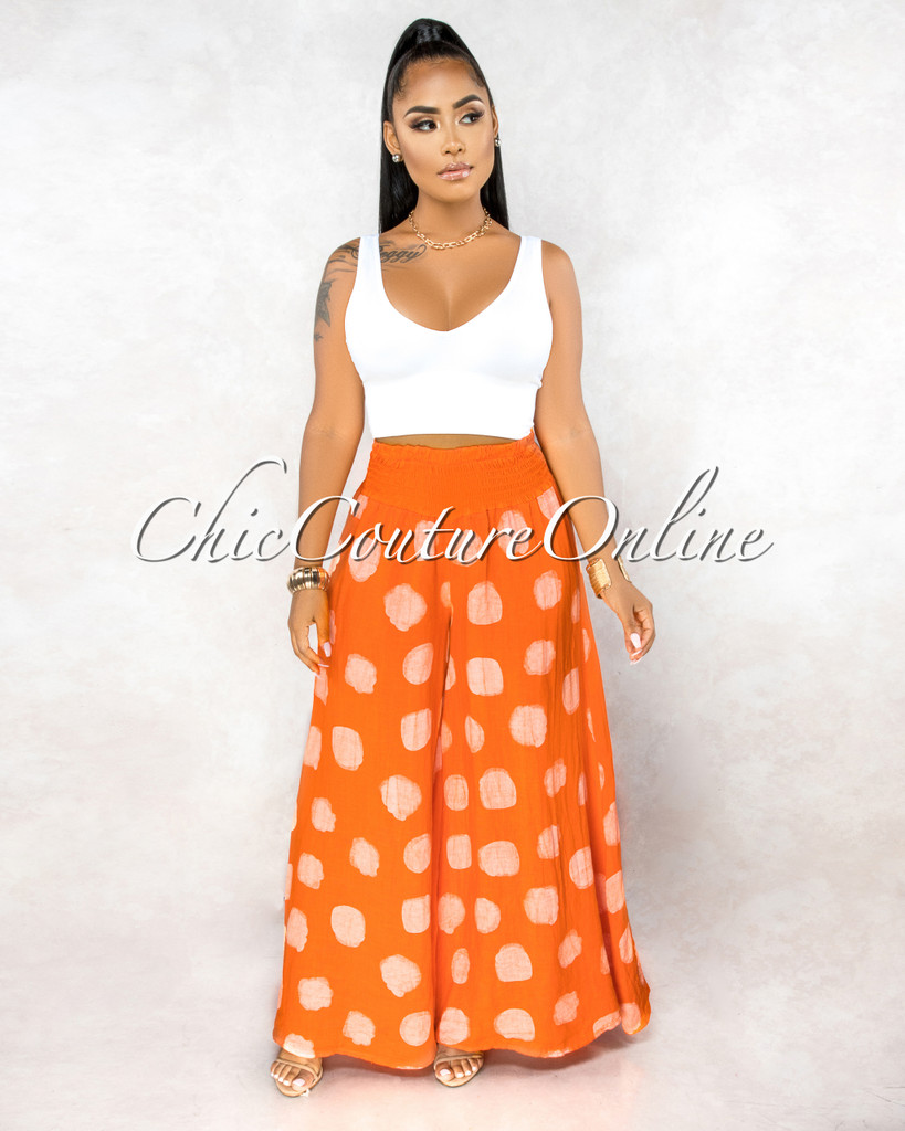Albina Orange White Polka Dots Wide Legs LINEN Pants