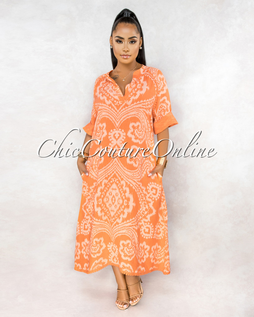 Montay Tangerine Print Over-Sized Maxi LINEN Dress