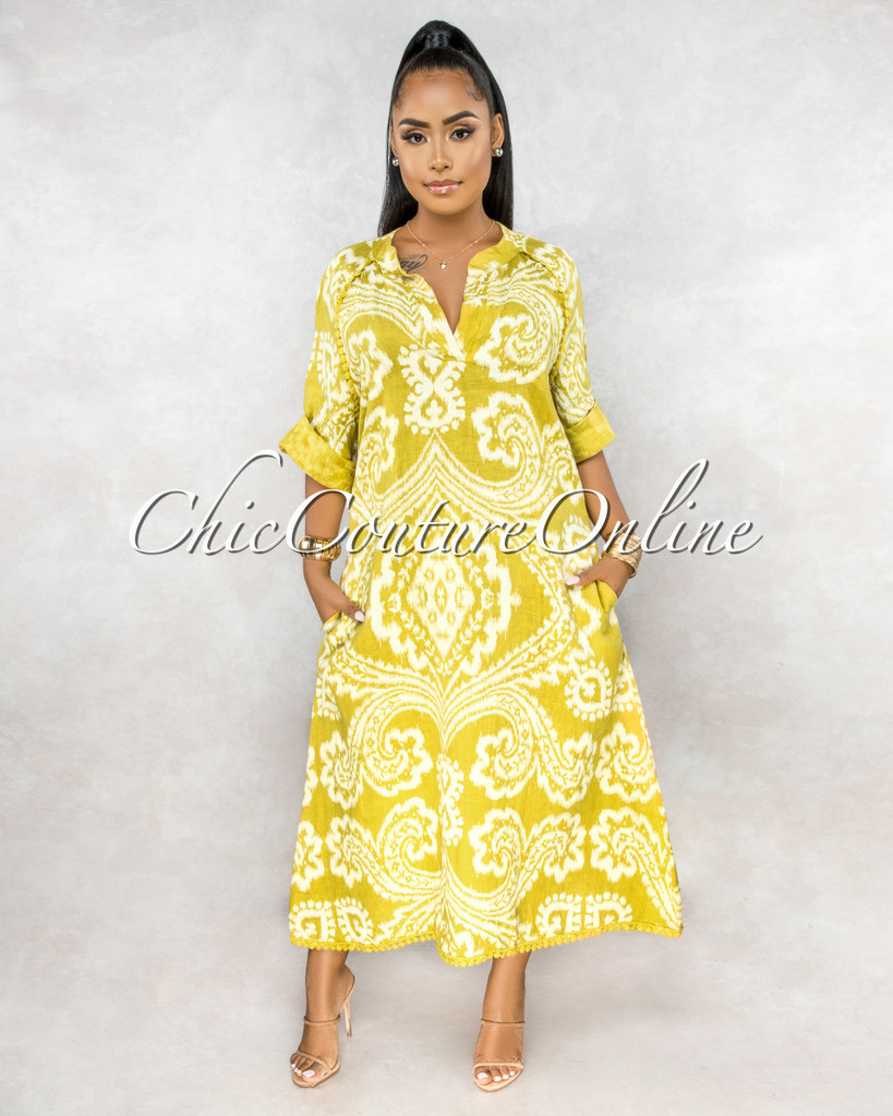 Montay Yellow Print Over-Sized Maxi LINEN Dress