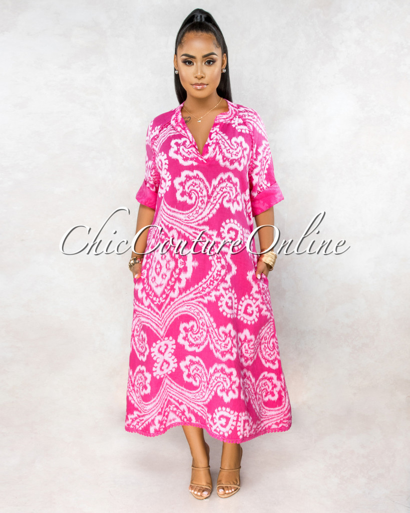 Montay Fuchsia Print Over-Sized Maxi LINEN Dress