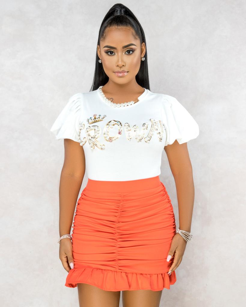 Amelie Orange Ruched Ruffle Hem Mini Skirt