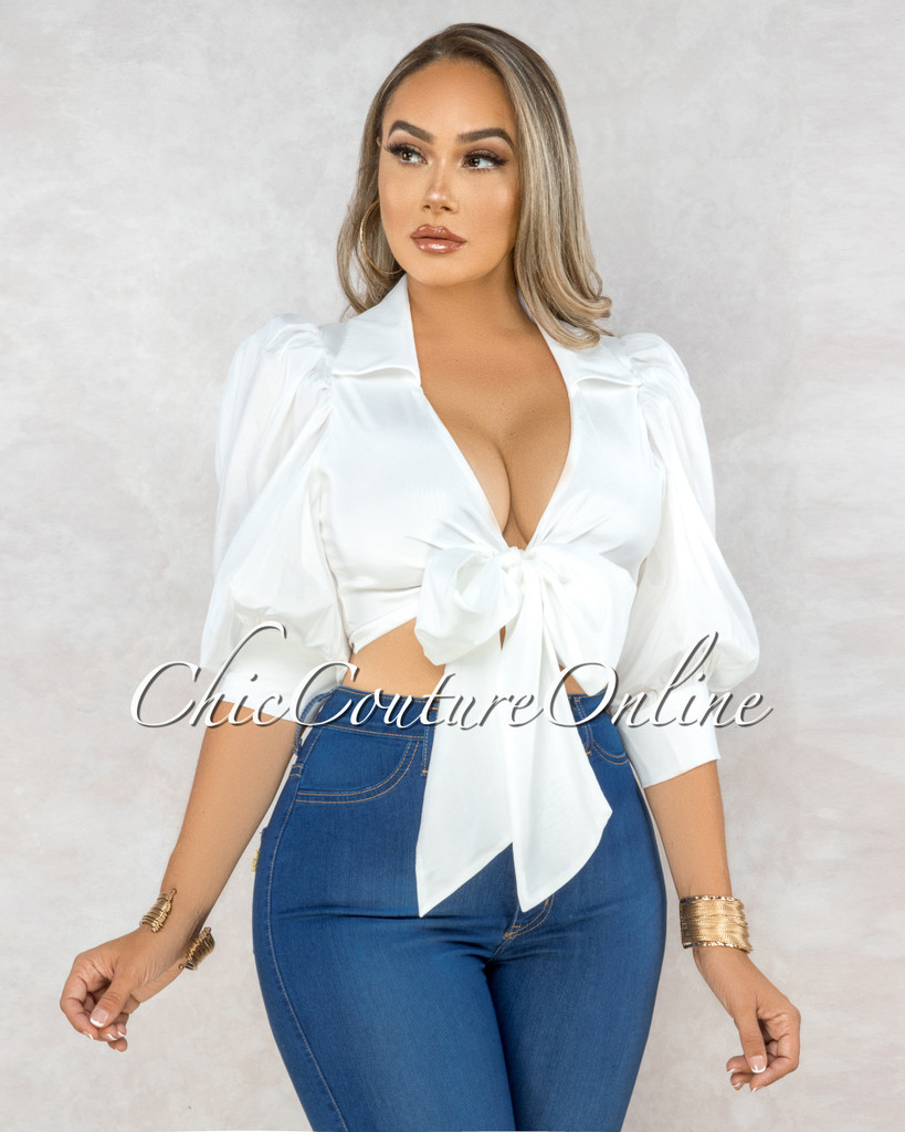 Gower White Puffy Sleeves Front Tie Blouse