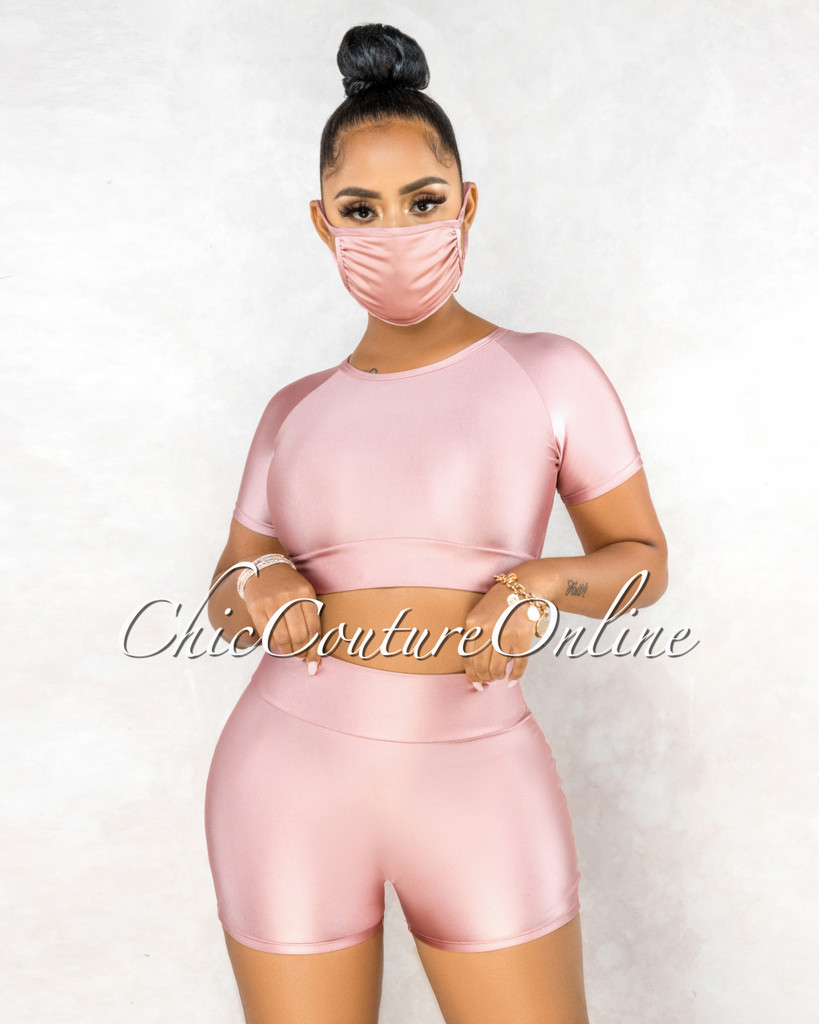 Azmera Dusty Pink Silky Crop Top Mini Shorts & Mask Set