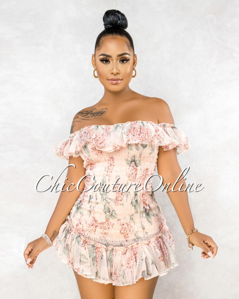 Scotia Peach Floral Print Ruffle Hem Ultra Mini Dress