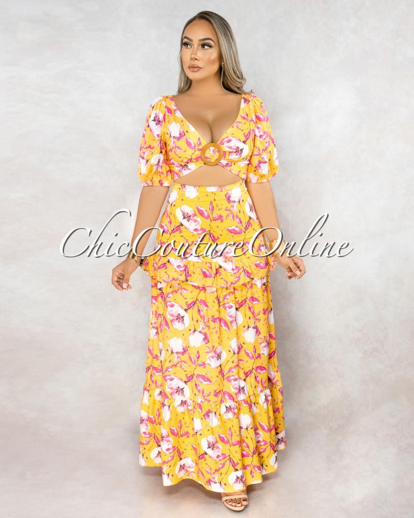 Hateya Mustard Fuchsia Print Wood O-Ring Top Skirt Set