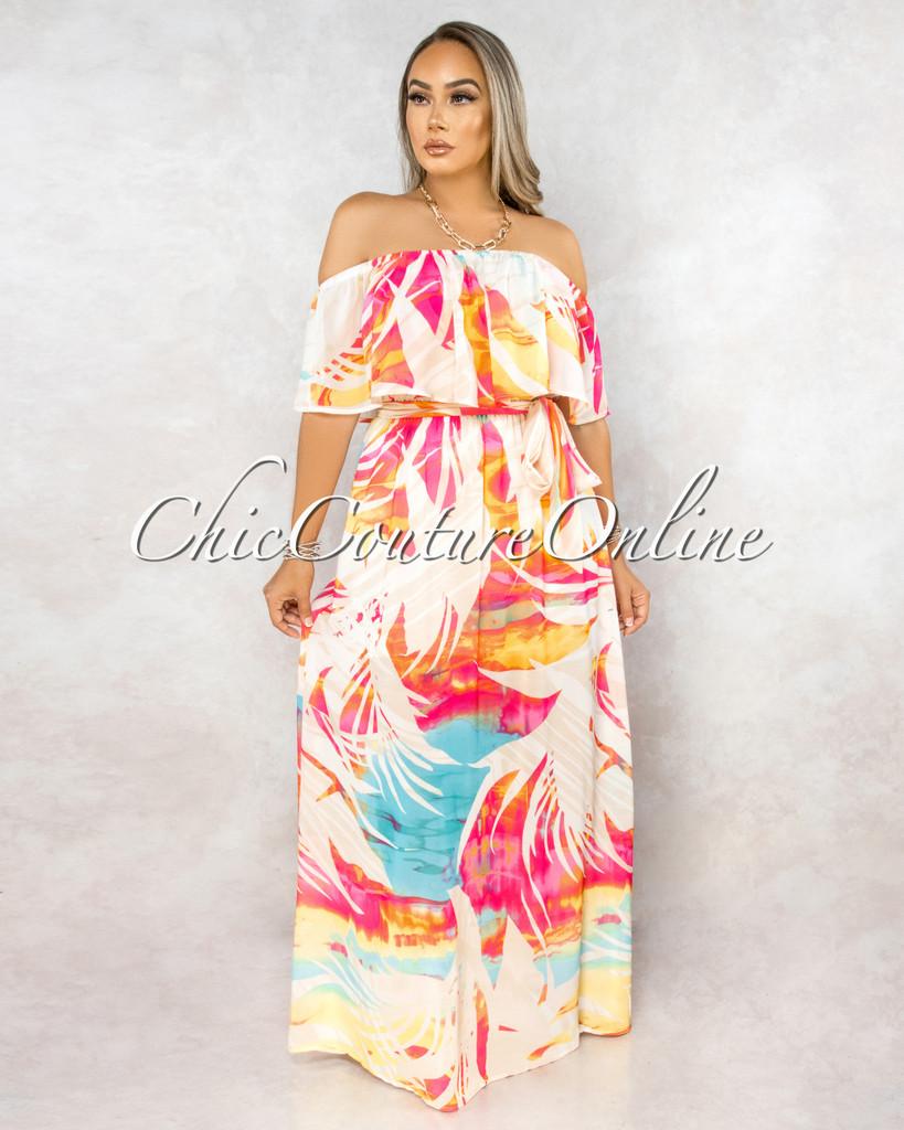 Xantara Ivory Pink Print Off-The Shoulder Maxi Dress