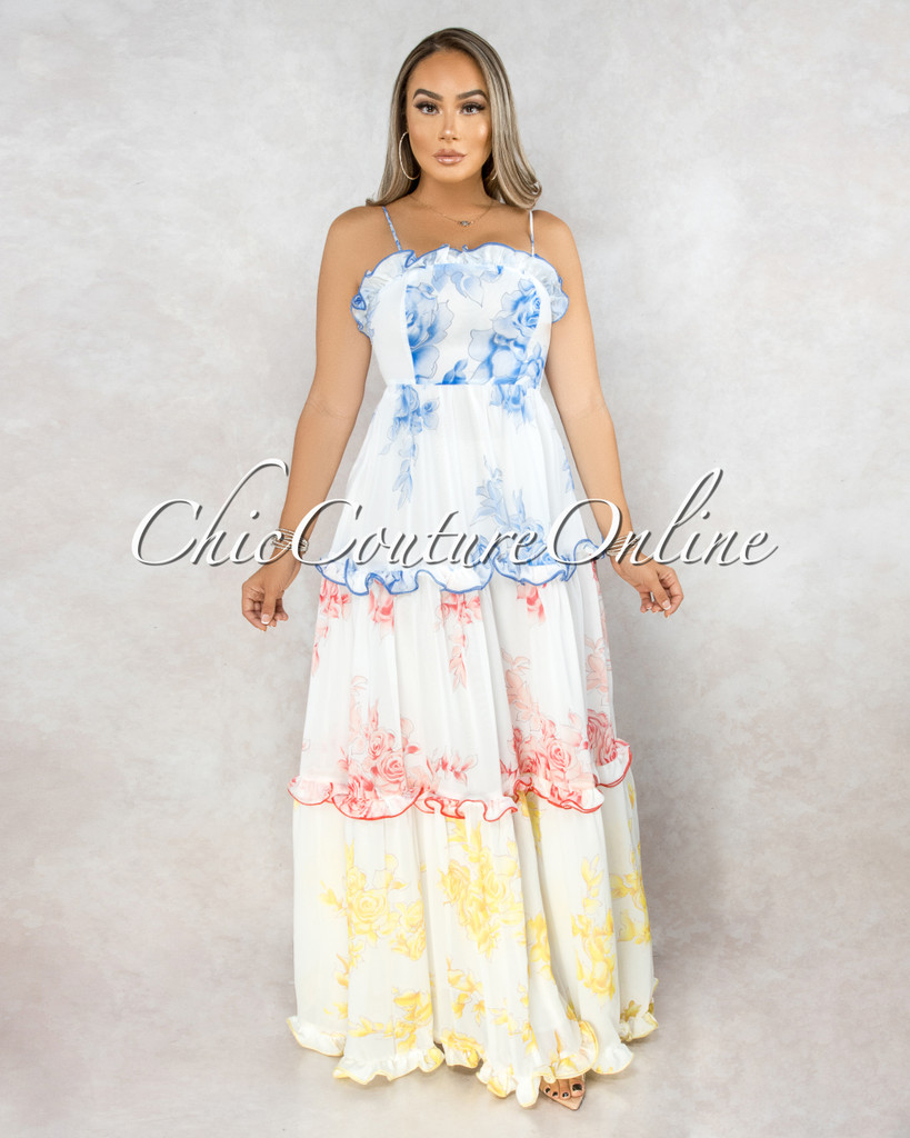 Rimona White Blue Red Yellow Floral Ruffle Tier Maxi Dress