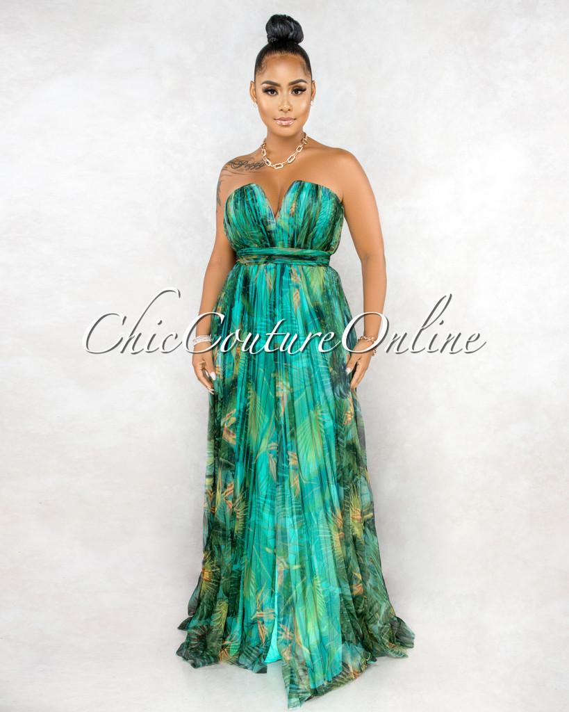 Xabrina Green Leaf Print Pleated Mesh Maxi Dress