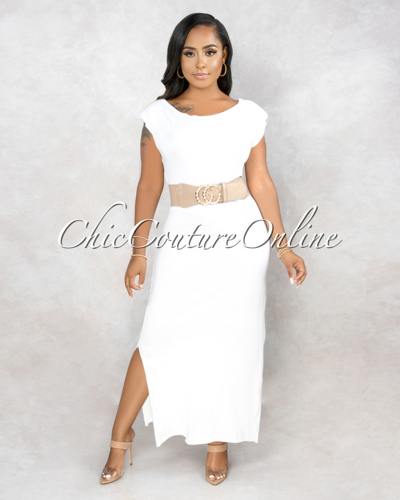 Taini White Padded Shoulder & Braided Belt Maxi Dress