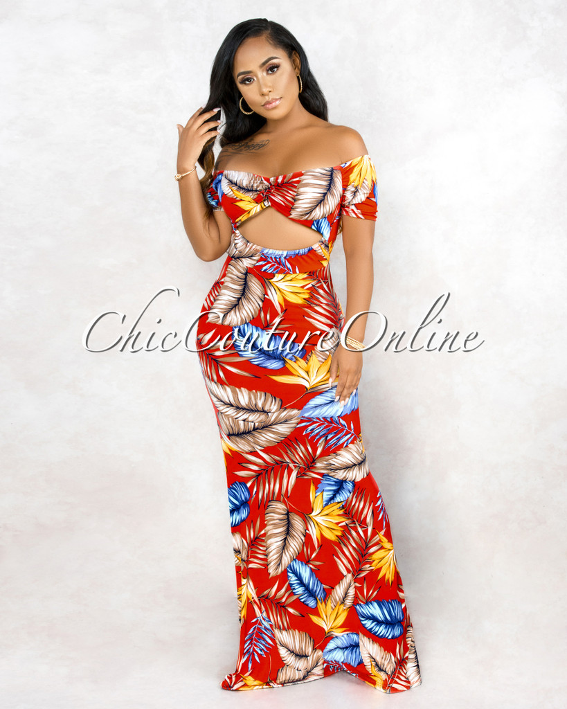 Lakota Red Floral Print Off The Shoulder Maxi Dress
