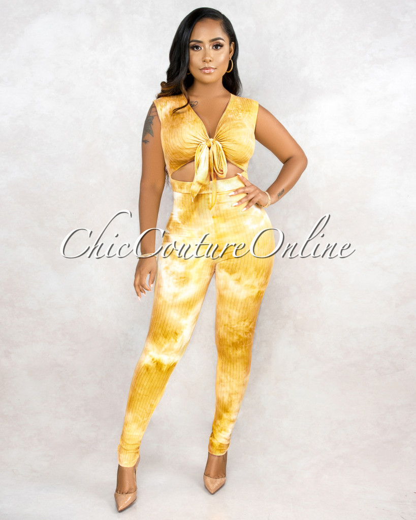 Grecia Yellow Tie Dye Key-Hole Front Jumpsuit