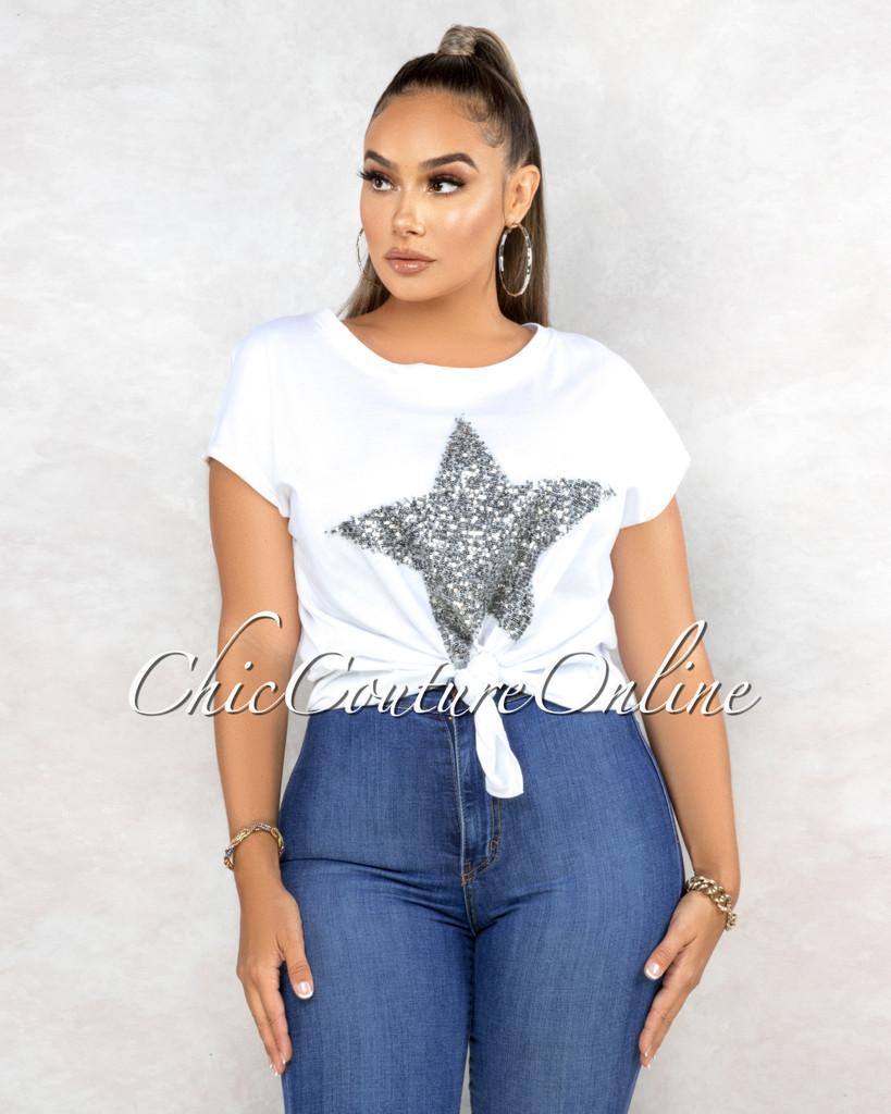 Sevita White Silver Sequins Star Front Knot T-Shirt
