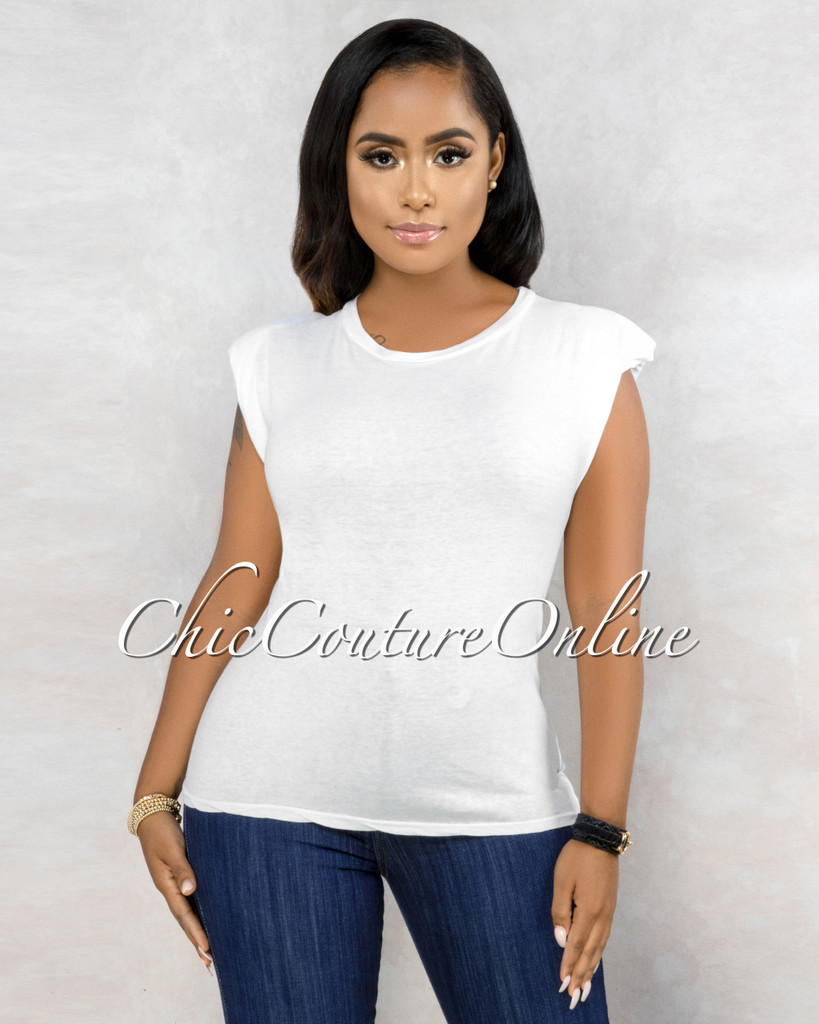 Gussie Off-White Padded Shoulders T-Shirt