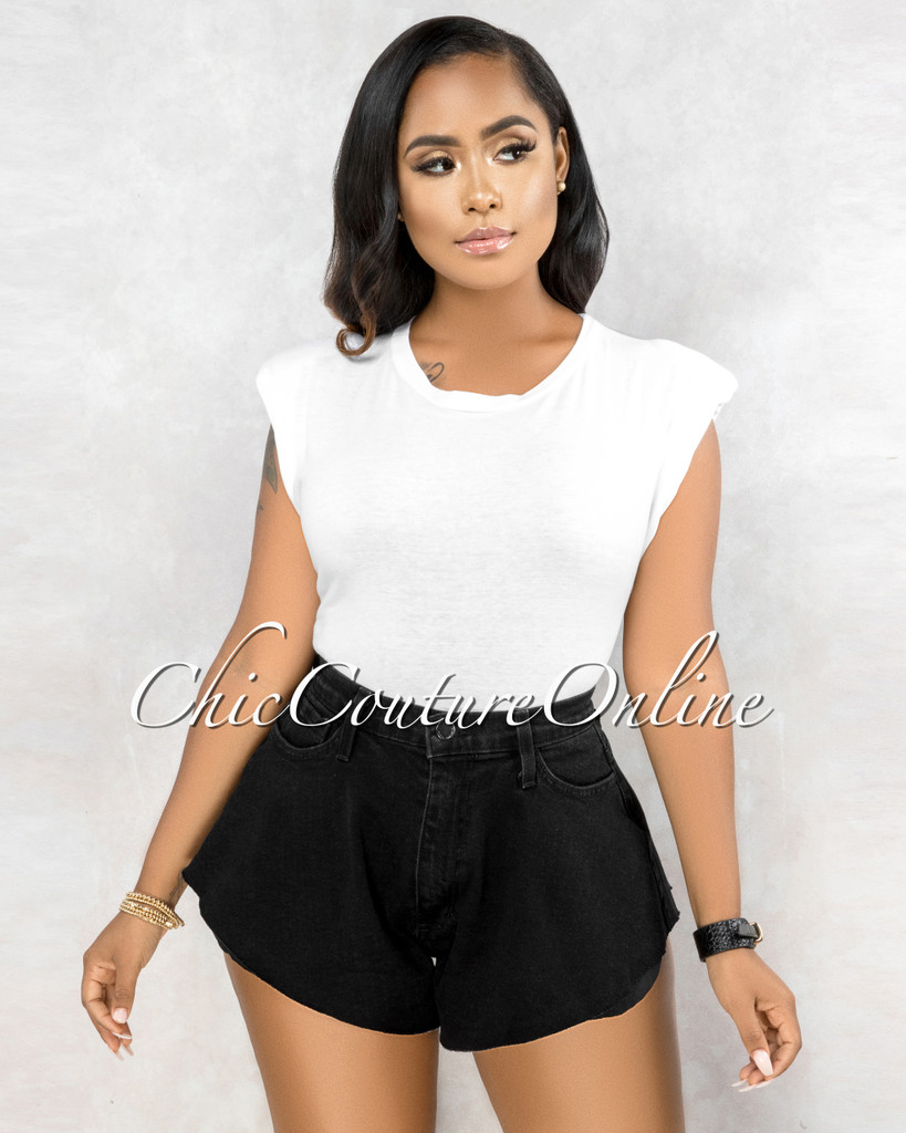 Owena Black Denim Flutter Mini Shorts