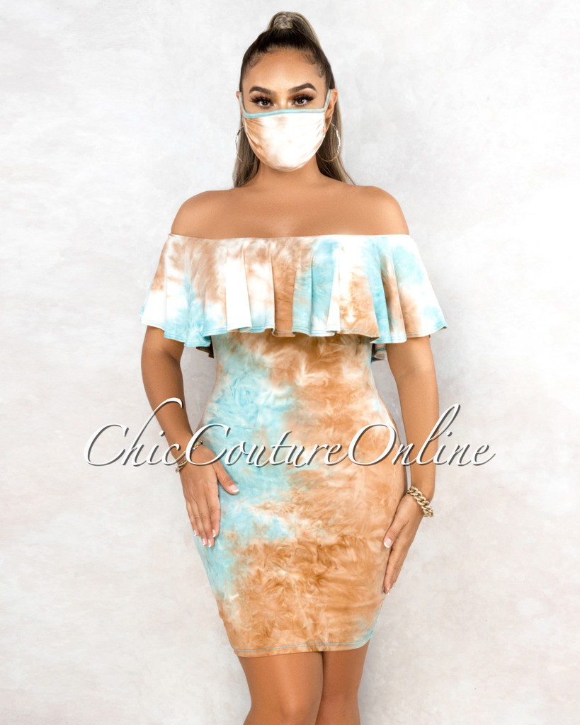 Amorica Brown Turquoise Tie-Dye Off-The Shoulder Dress w Mask