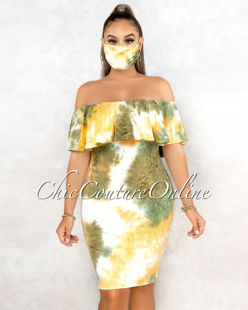 Amorica Green Yellow Tie-Dye Off-The Shoulder Dress w Mask
