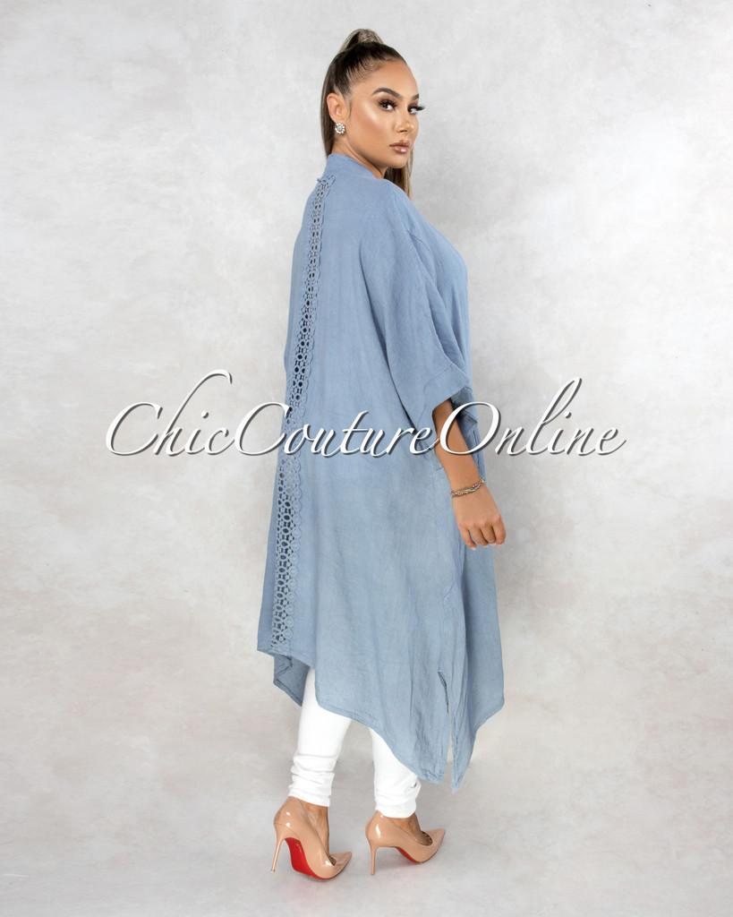 Lavinia Steel Blue Back Crochet Detail LINEN Duster