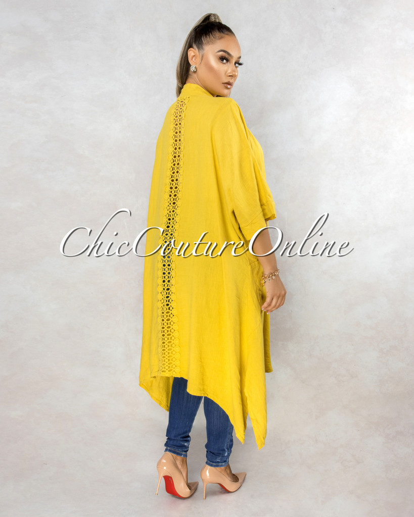 Lavinia Mustard Yellow Back Crochet Detail LINEN Duster