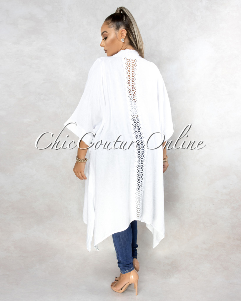 Lavinia White Back Crochet Detail LINEN Duster