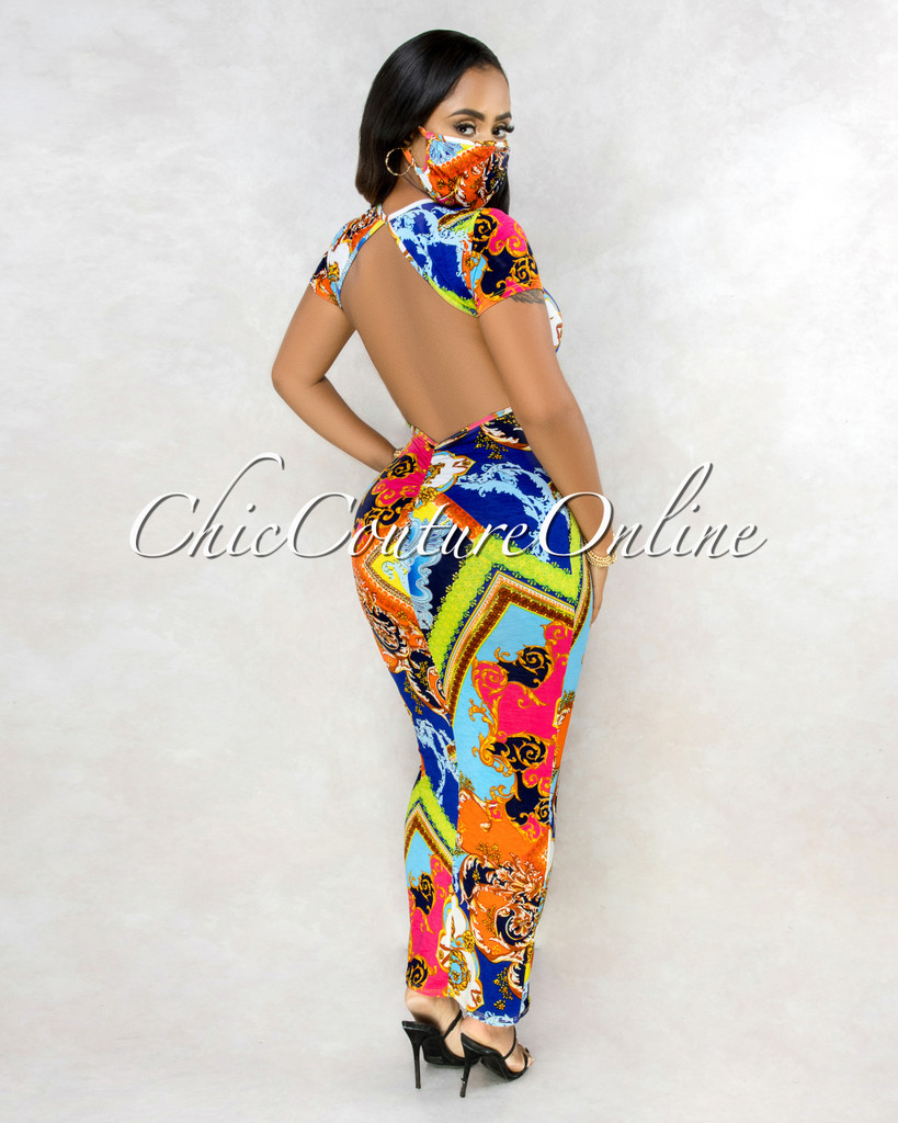 Aduna Multi-Color Print Open Back Maxi Dress w Mask