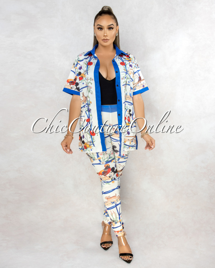 Bogart Ivory Blue Multi-Color Print Silky Two Piece Set