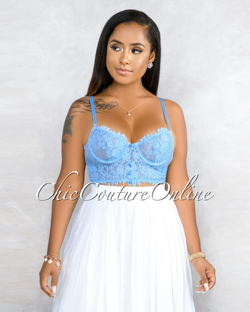 Charnesa Baby Blue Lace Sheer Crop Buttons Bralette