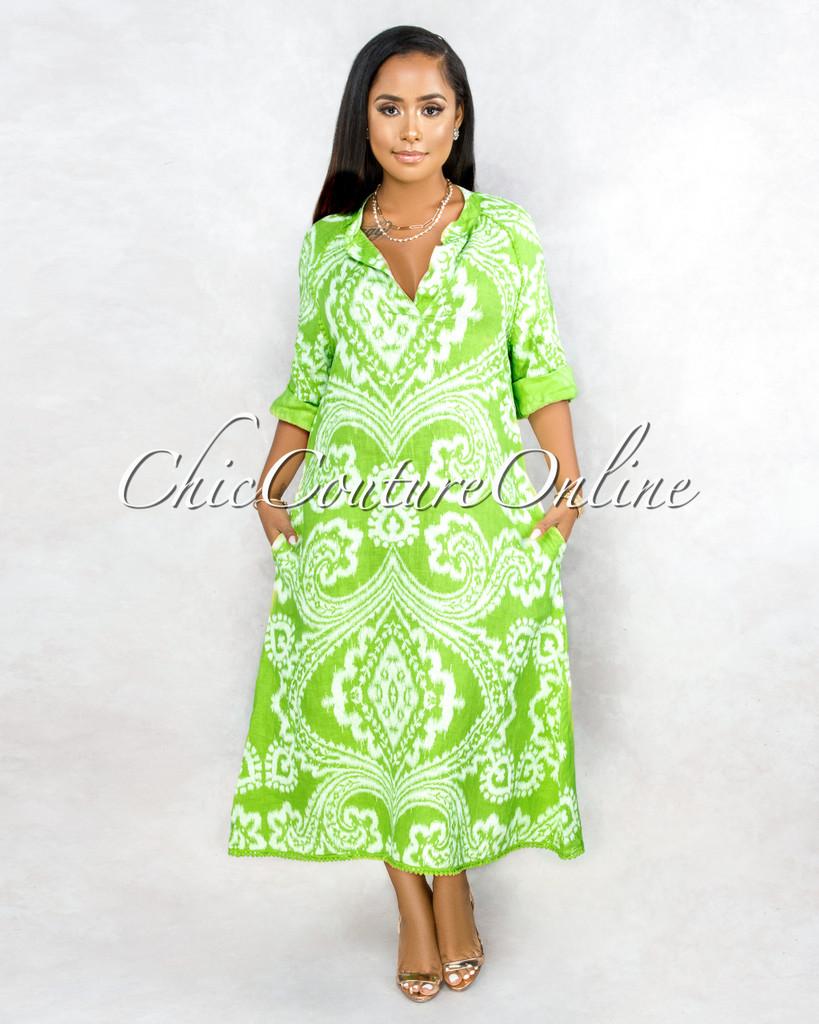 Montay Key-Lime White Print Over-Sized Maxi LINEN Dress