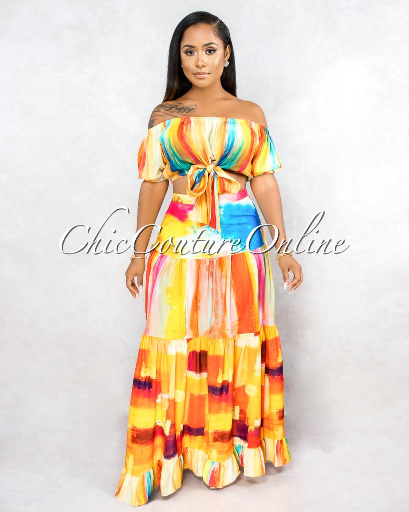 Zerlina Orange Multi-Color Print Knot Top & Maxi Skirt Set