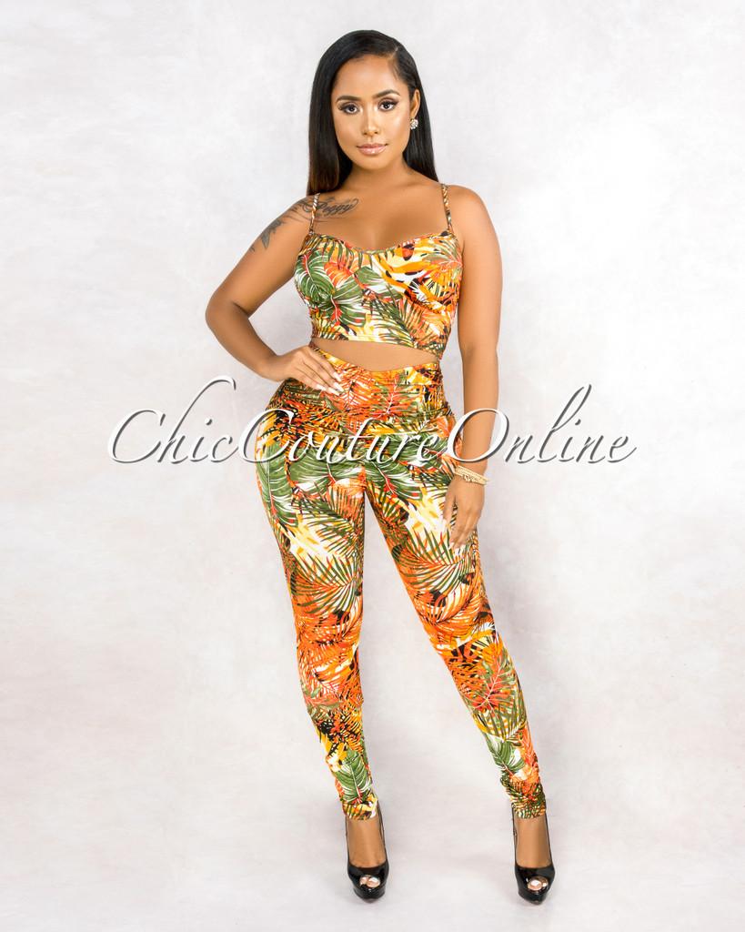 Sapna Orange Yellow Leaf Print Crop Top Leggings Set