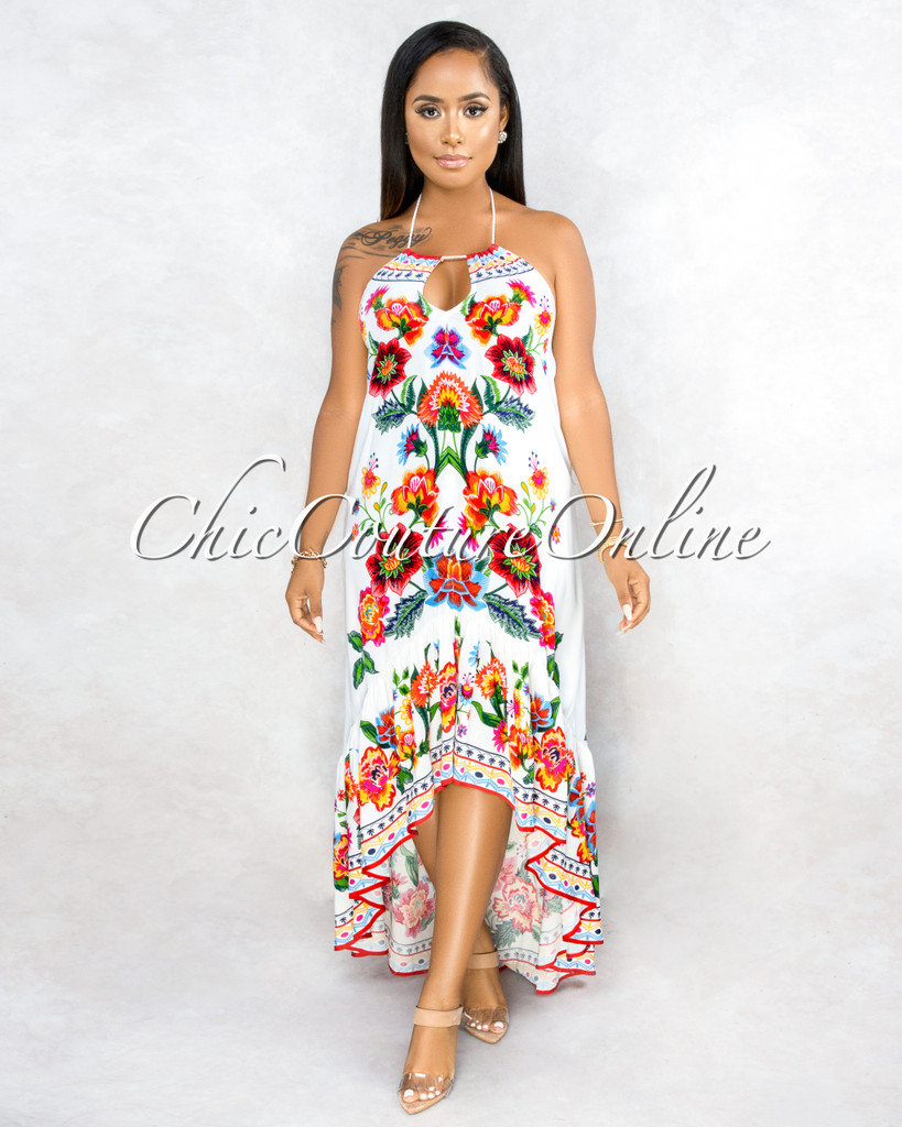 Bixenta Ivory Multi-Color Floral Print Hi-Lo Maxi Dress