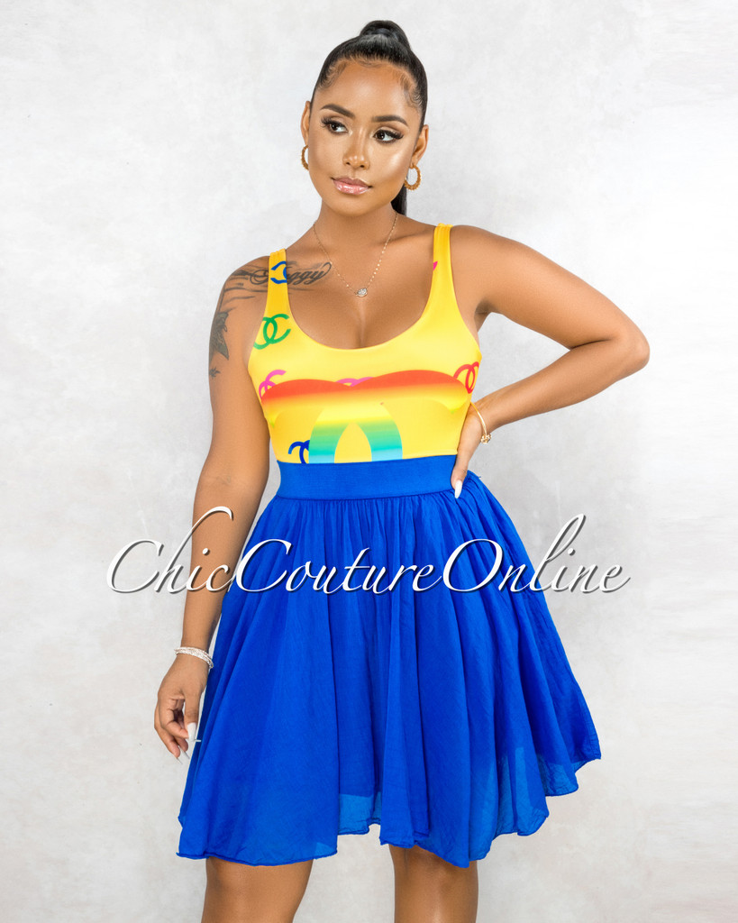 Hilma Royal Blue Flutter Mini Skirt
