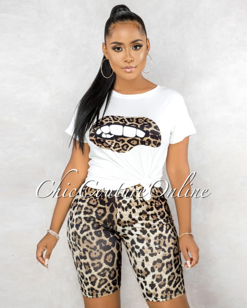 Bernice Off-White T-Shirt Brown Leopard Print Biker Shorts Set