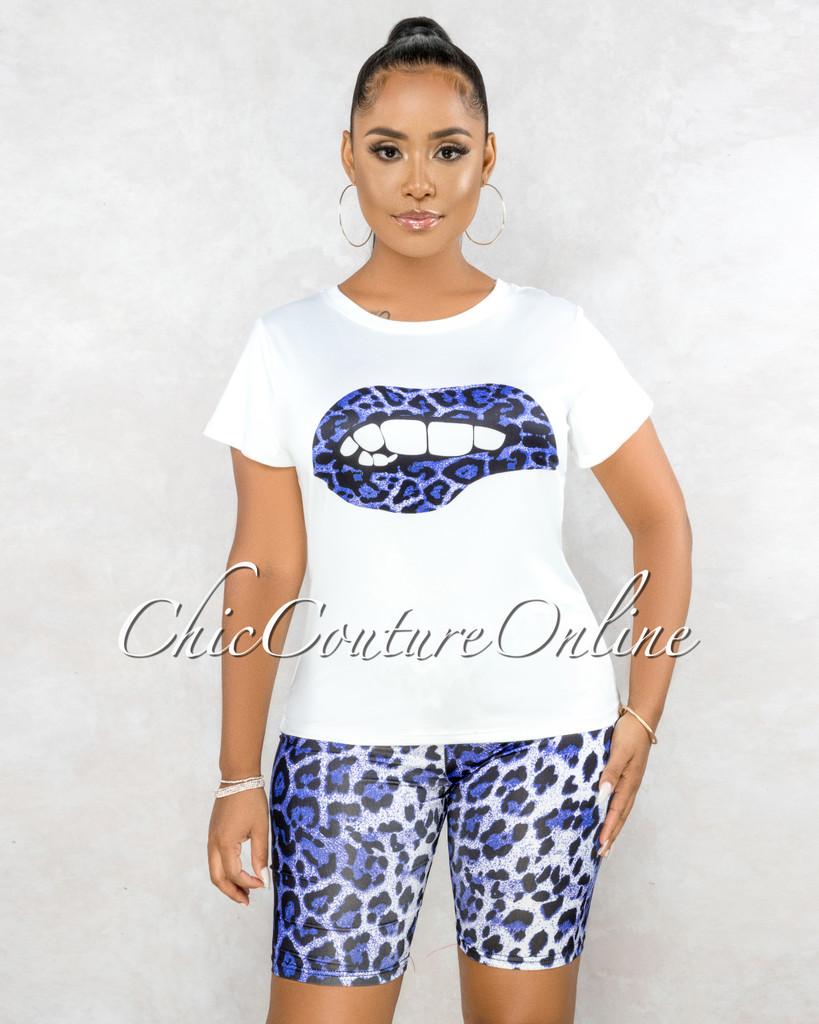 Bernice Off-White T-Shirt Purple Leopard Print Biker Shorts Set