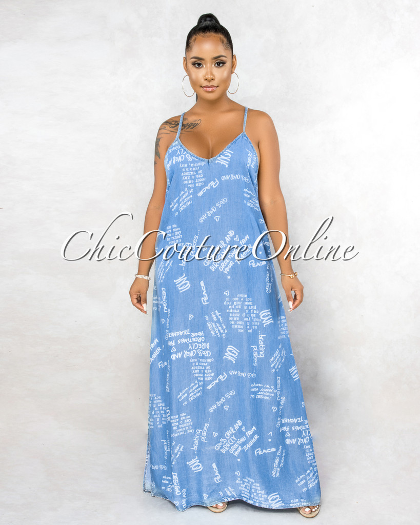 Domnall Blue Chambray White Graffiti Print Maxi Dress