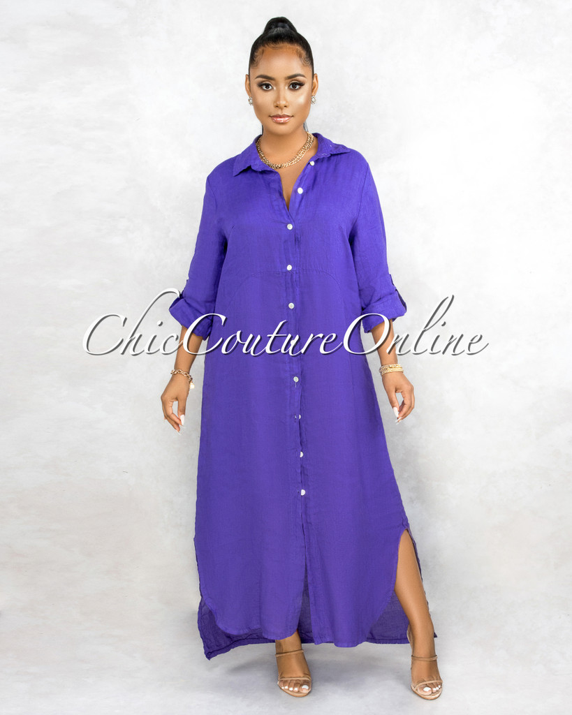 Daleah Purple Front Buttons Shirt LINEN Maxi Dress