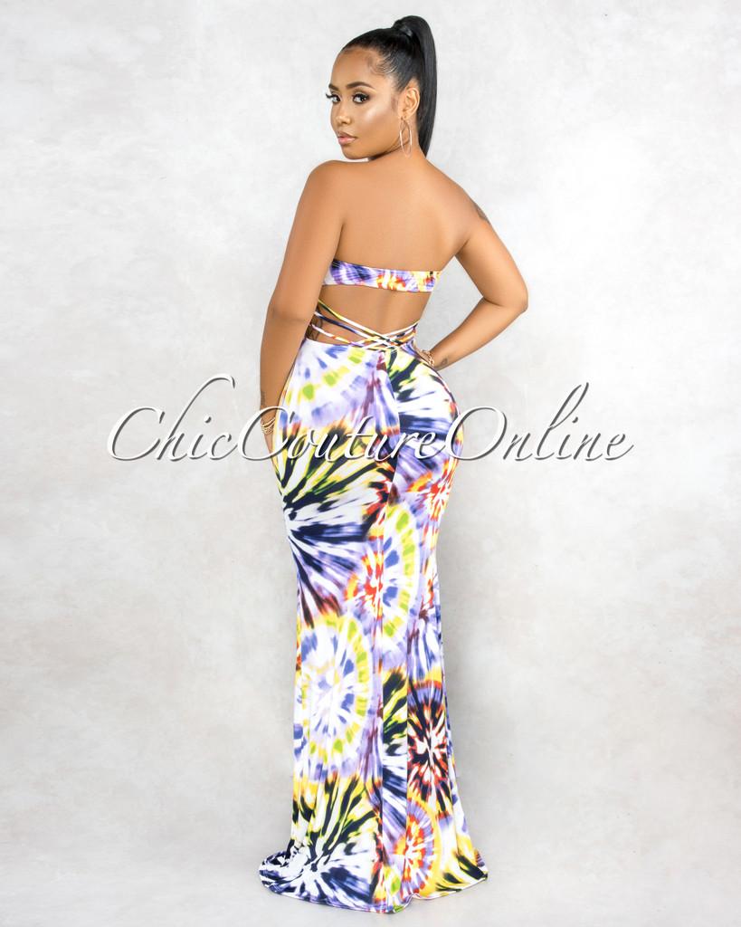 Earlene White Purple Multi-Color Print Strappy Back Maxi Dress