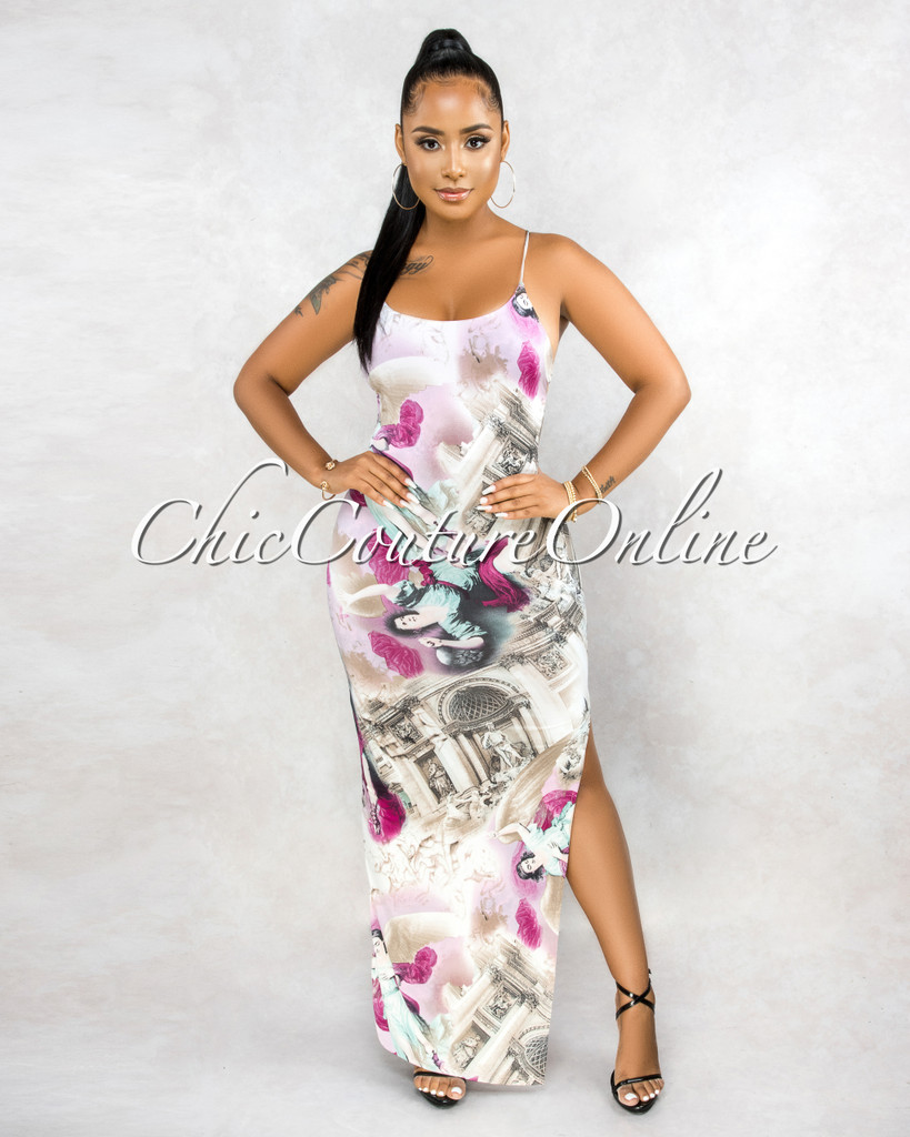 Badger Ivory Purple Print Low Back Maxi Dress