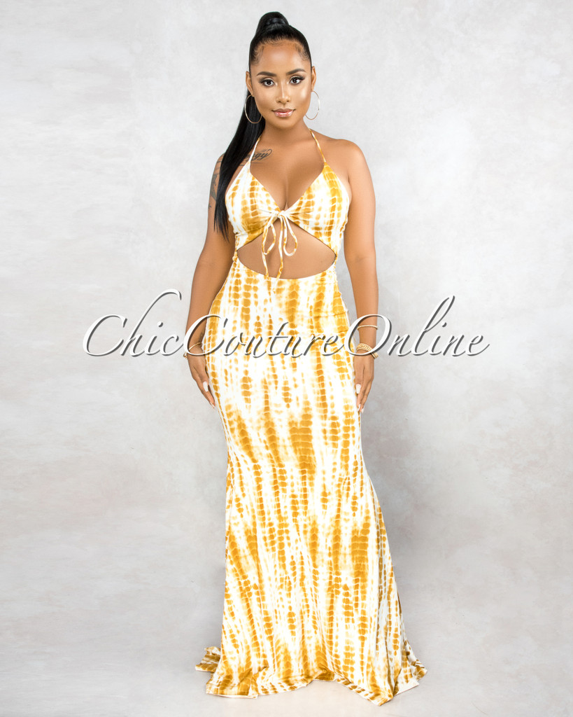 Eldrian White Mustard Tie-Dye Front Cut-Out Maxi Dress