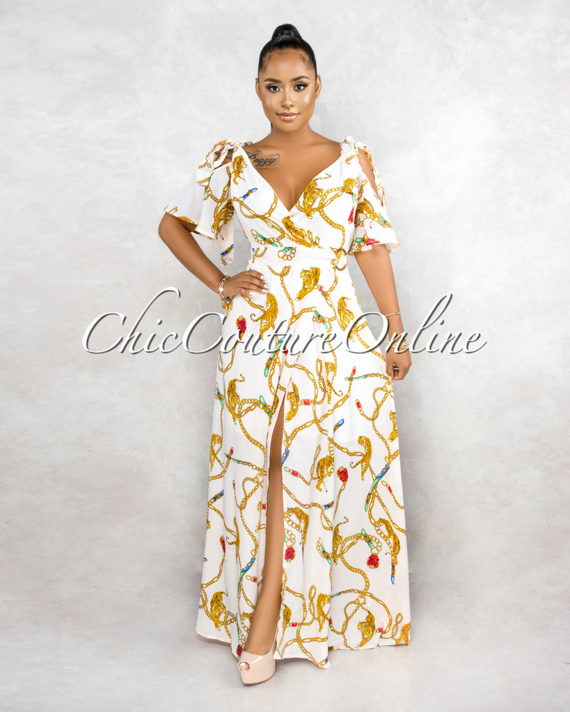 Urvasi Cream Gold Chain Print Gold O-Ring Detail Wrap Dress