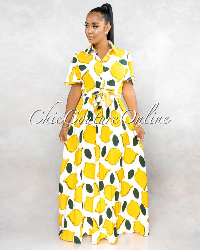 Yuette White Lemon Print Top Key-Hole Pleated Maxi Dress
