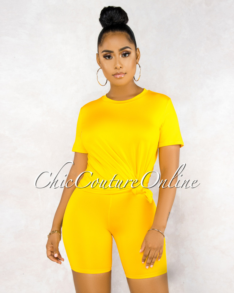 Courtnie Yellow Over-sized Shirt Shorts CURVACEOUS Set