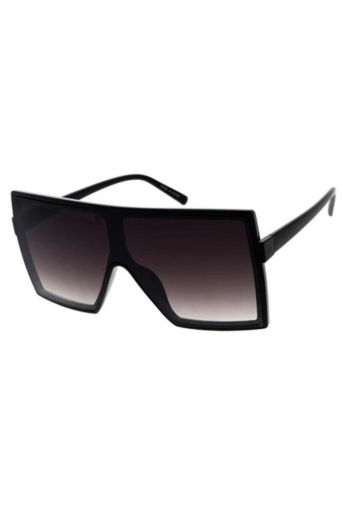 Stunna Black Clear Gradient Lens Square Large Sunglasses