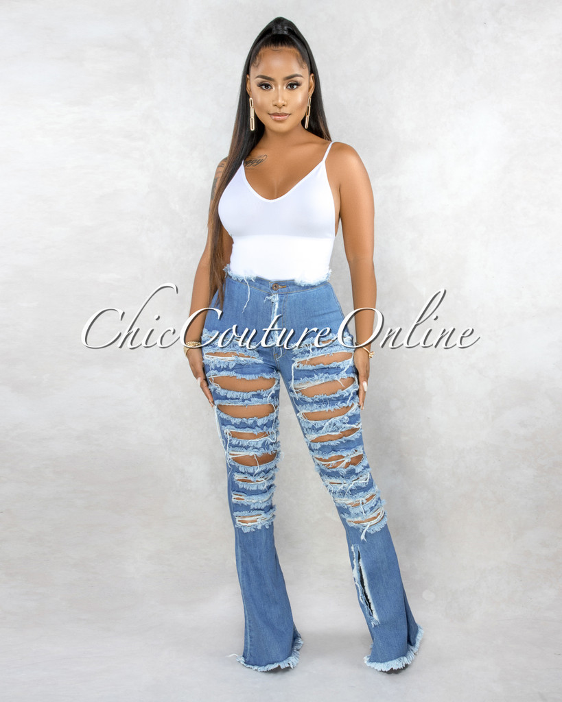 Aphrodite Medium Denim Destroyed Jeans