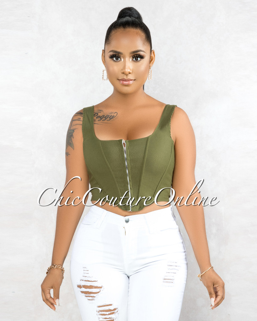 Roscoe Olive Green Front Hook Closure Corset Top