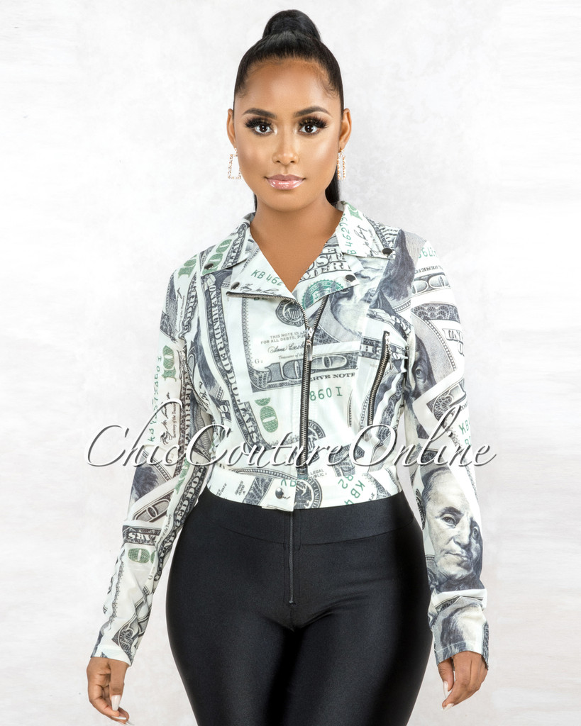 Dinero Off-White Green Money Print  Black Zipper Mesh Jacket