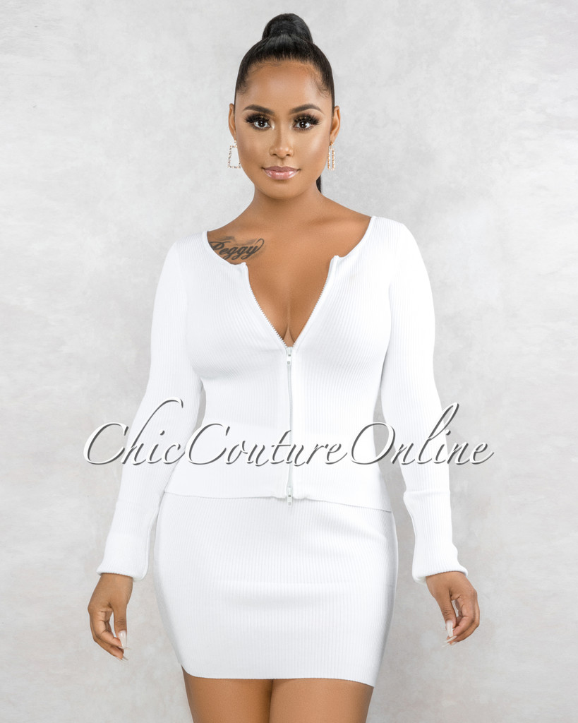 Milanie Off-White Ribbed Front Zipper Top & Skirt Set