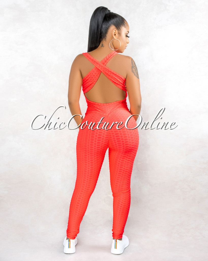 Michewa Neon Pink Textured Open Back Jumpsuit