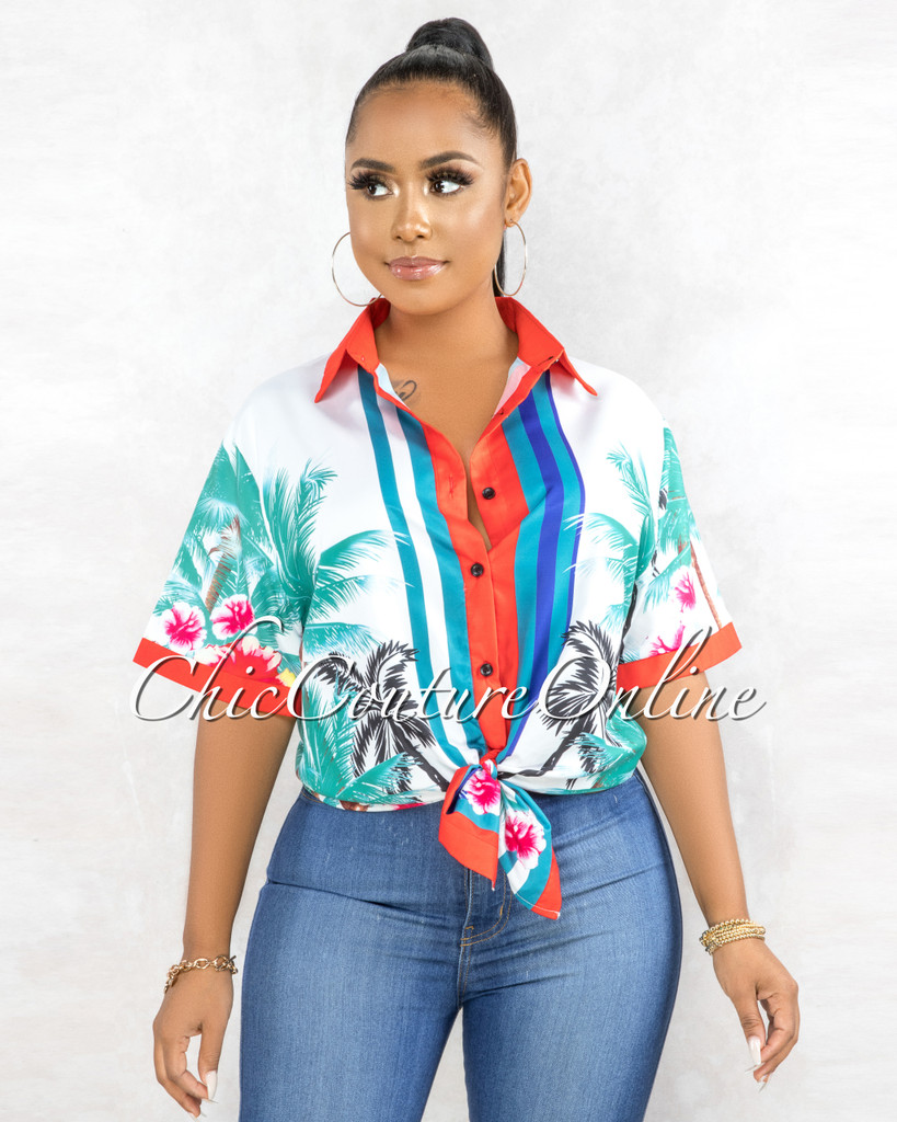 Rhaxma White Green Red Leaf Print Buttons Shirt