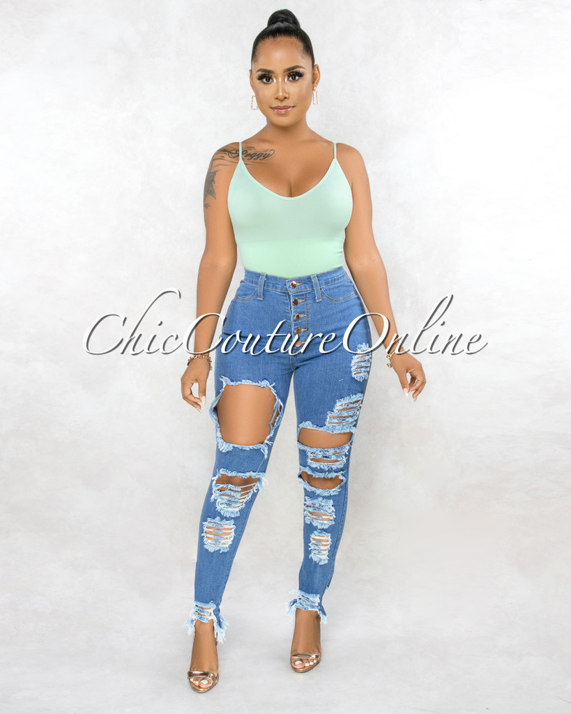 Benita Blue High Waist Rose Gold Buttons Destroyed Jeans