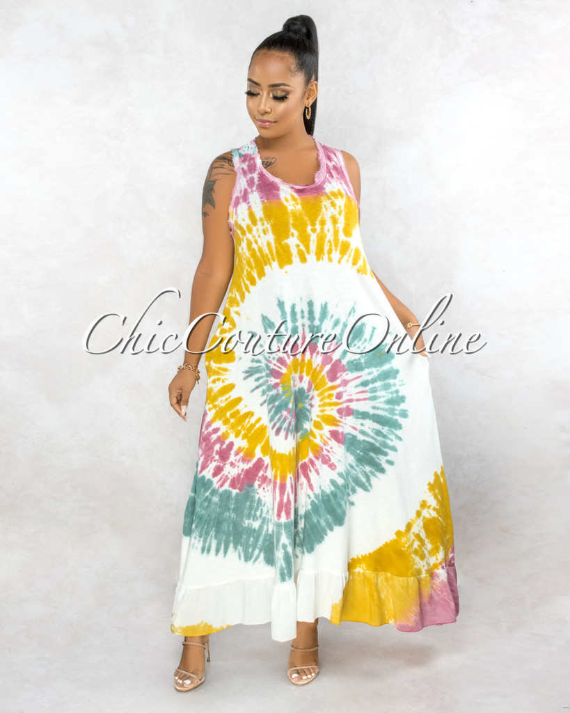 Kaniel Ivory Pink Yellow Tie-Dye Ruffle Maxi Shirt Dress